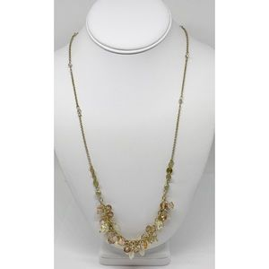LOFT Long Gold Chain with Crystals Necklace